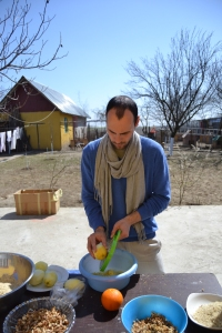 Hungarian voluntary Adam who puts the hand in the leg to collect lemon peels.